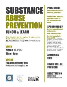 "Lunch and Learn ""Substance Abuse Prevention"" @ Preston County Inn 