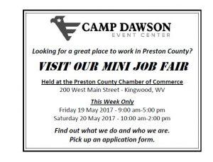 Mini Job Fair at Preston County Chamber of Commerce @ Preston County Chamber of Commerce | Kingwood | West Virginia | United States