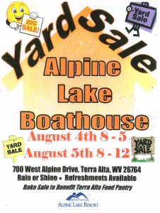 Alpine Lake Boathouse Yard Sale @ Alpine Lake Boathouse | Terra Alta | West Virginia | United States