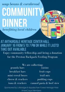 Soup Beans and Cornbread Community Dinner @ Arthurdale Heritage Center Hall | Arthurdale | West Virginia | United States