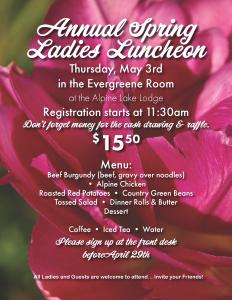 Annual Spring Ladies Luncheon @ Alpine Lake Resort | Terra Alta | West Virginia | United States