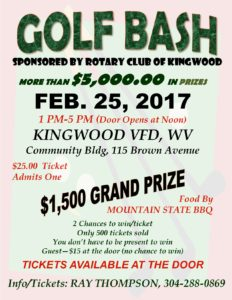 Rotary Club of Kingwood Golf Bash @ Kingwood Community Building | Kingwood | West Virginia | United States