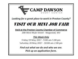 Mini Job Fair at Preston County Chamber of Commerce @ Preston County Chamber of Commerce | Kingwood | West Virginia | United States