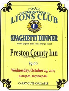 Lions Club Spaghetti Dinner @ Preston County Inn | Kingwood | West Virginia | United States